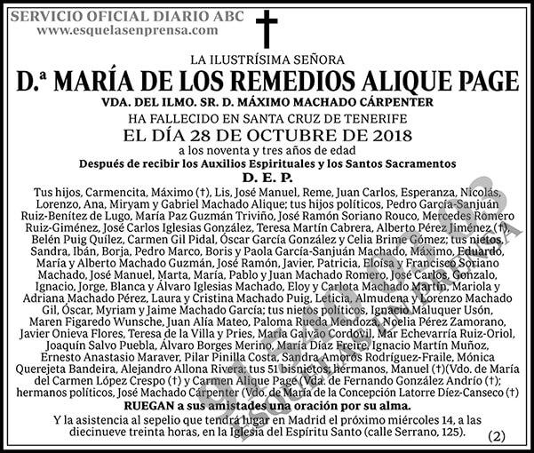 María de los Remedios Alique Page
